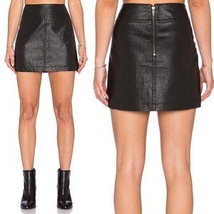 Free People Vegan Leather Mini Skirt Size 4